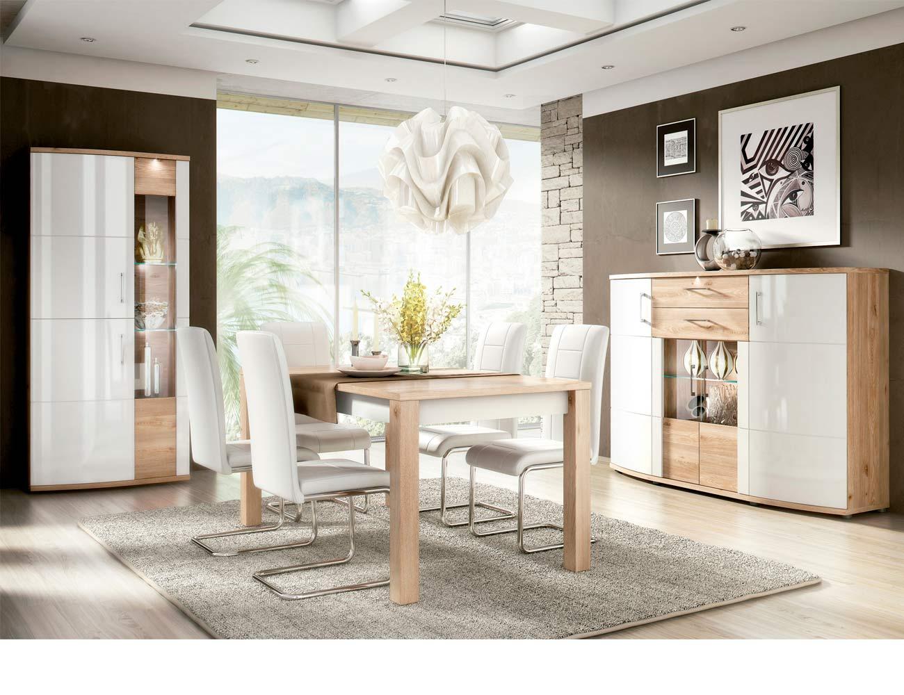 Ambiente9 mueble salon comedor vitrina bodeguero mesa sillas tapizadas aparador nelson blanco