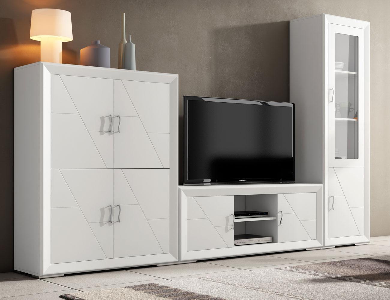 Muebles de gran calidad en madera con vitrina y librero en for Mueble salon lacado blanco