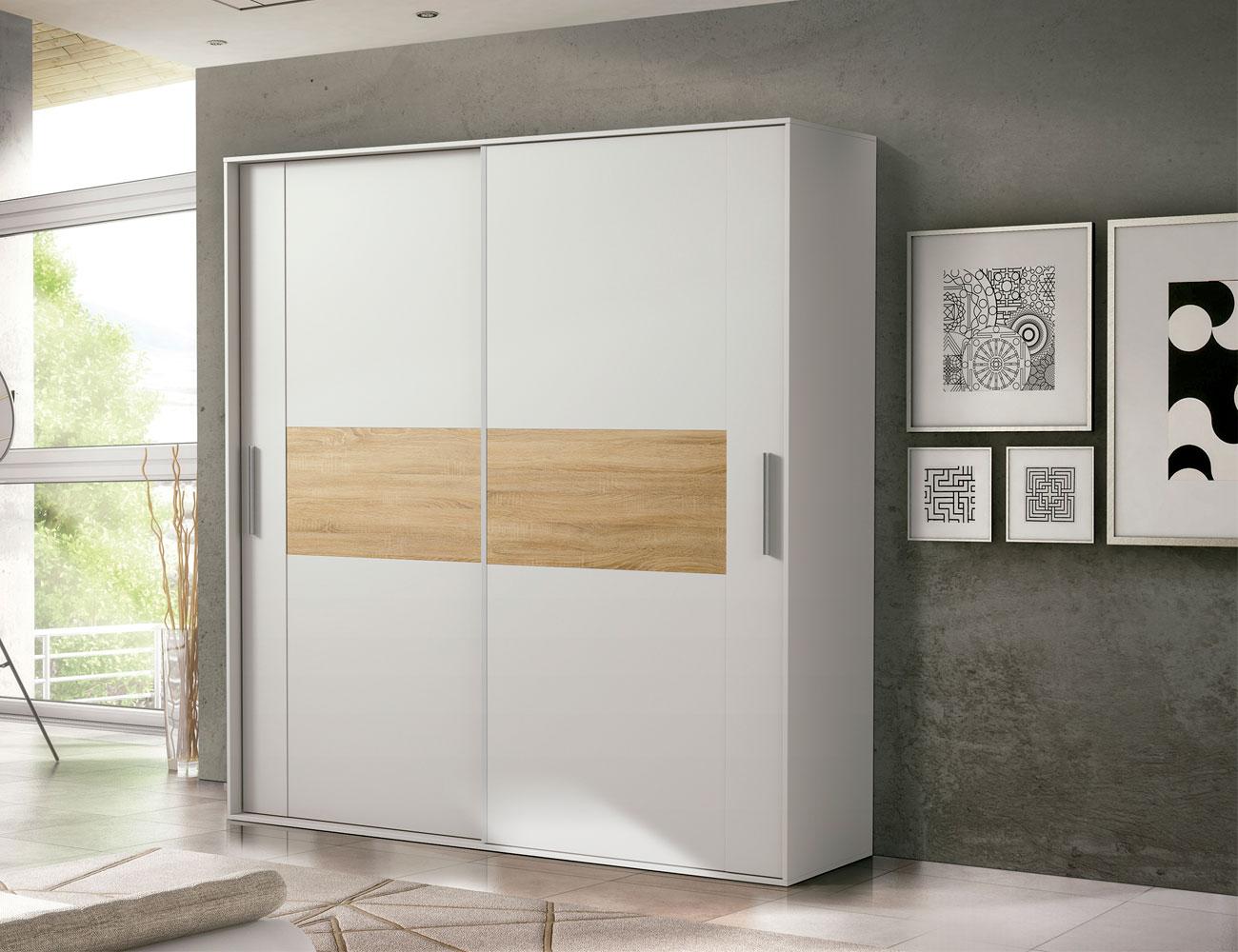 Armario 2 puertas correderas moderno blanco cambrian