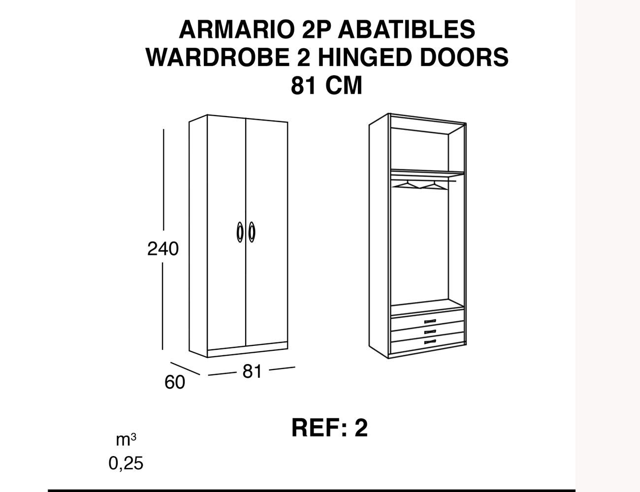 Armario 2p abatibles 81