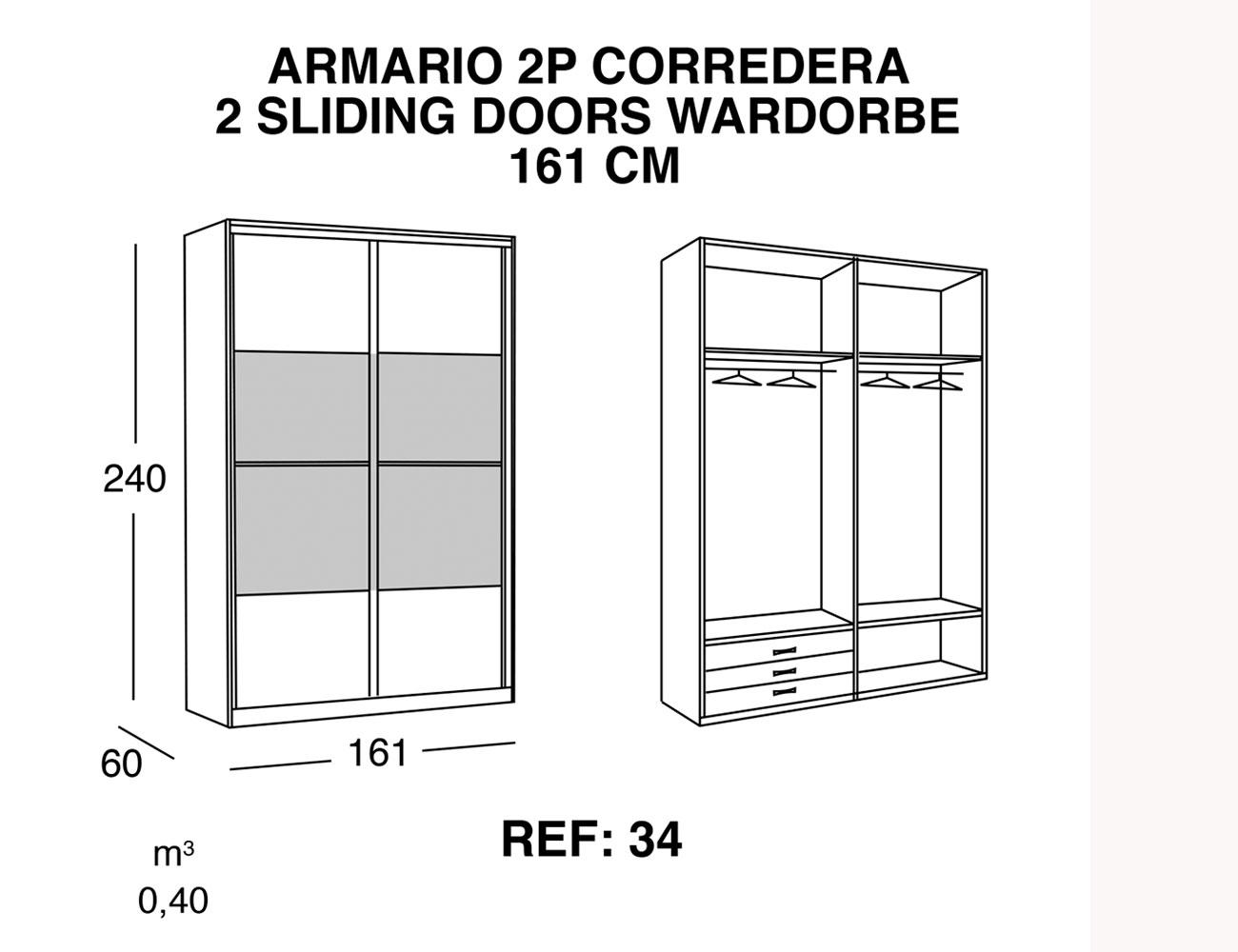 Armario 2p corredera 161