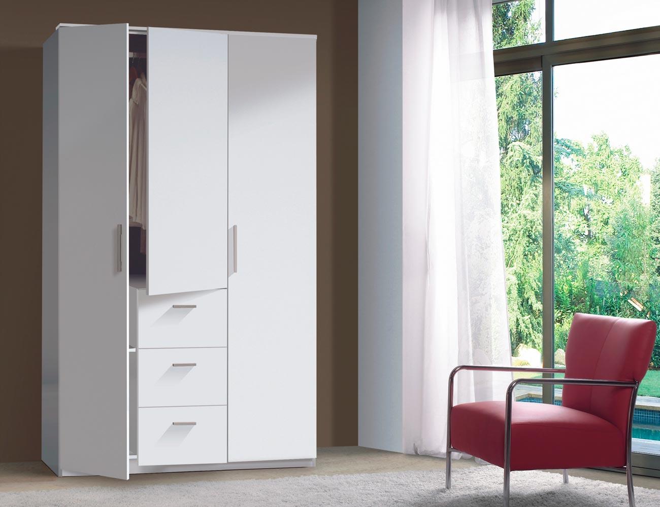Armario 3 puertas 3 cajones blanco brillo
