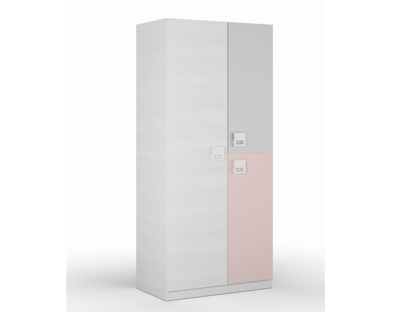 Armario juvenil con tres puertas en blanco line con rosa for Armario juvenil blanco