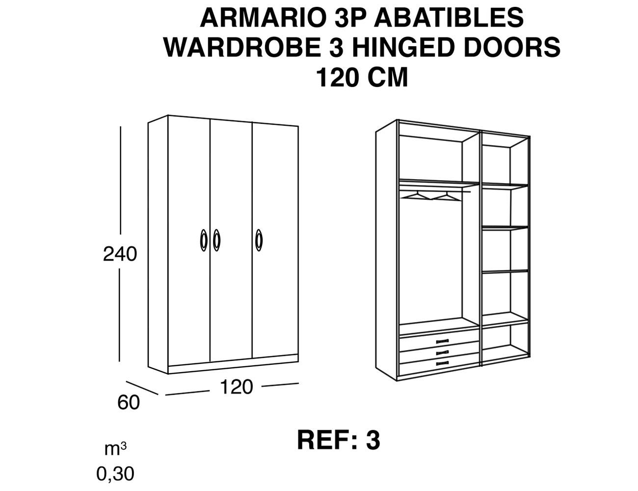 Armario 3p abatibles 120