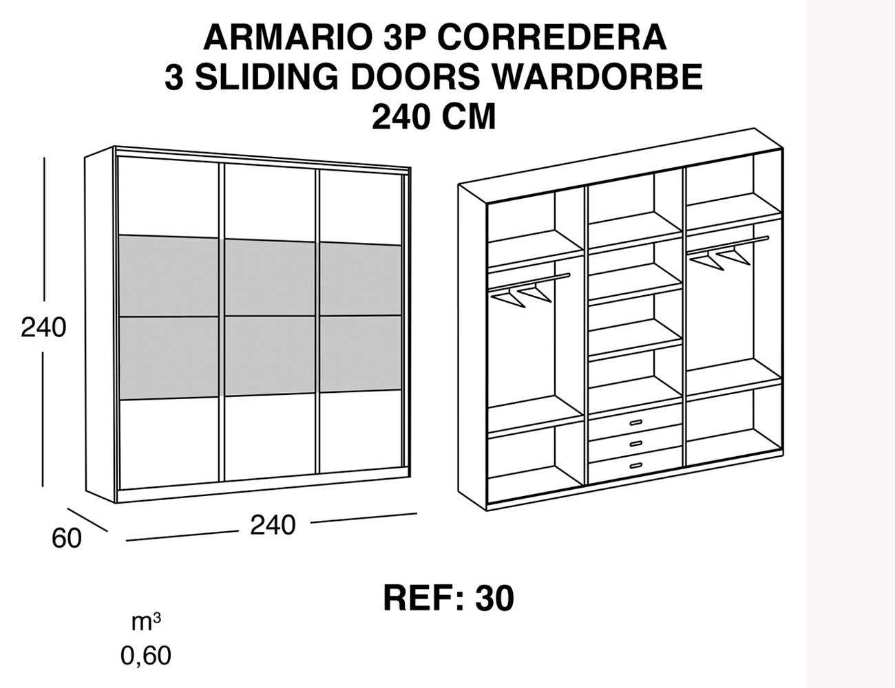 Armario de 3 puertas correderas de 240 cm 21380 for Armario puertas correderas 100 cm
