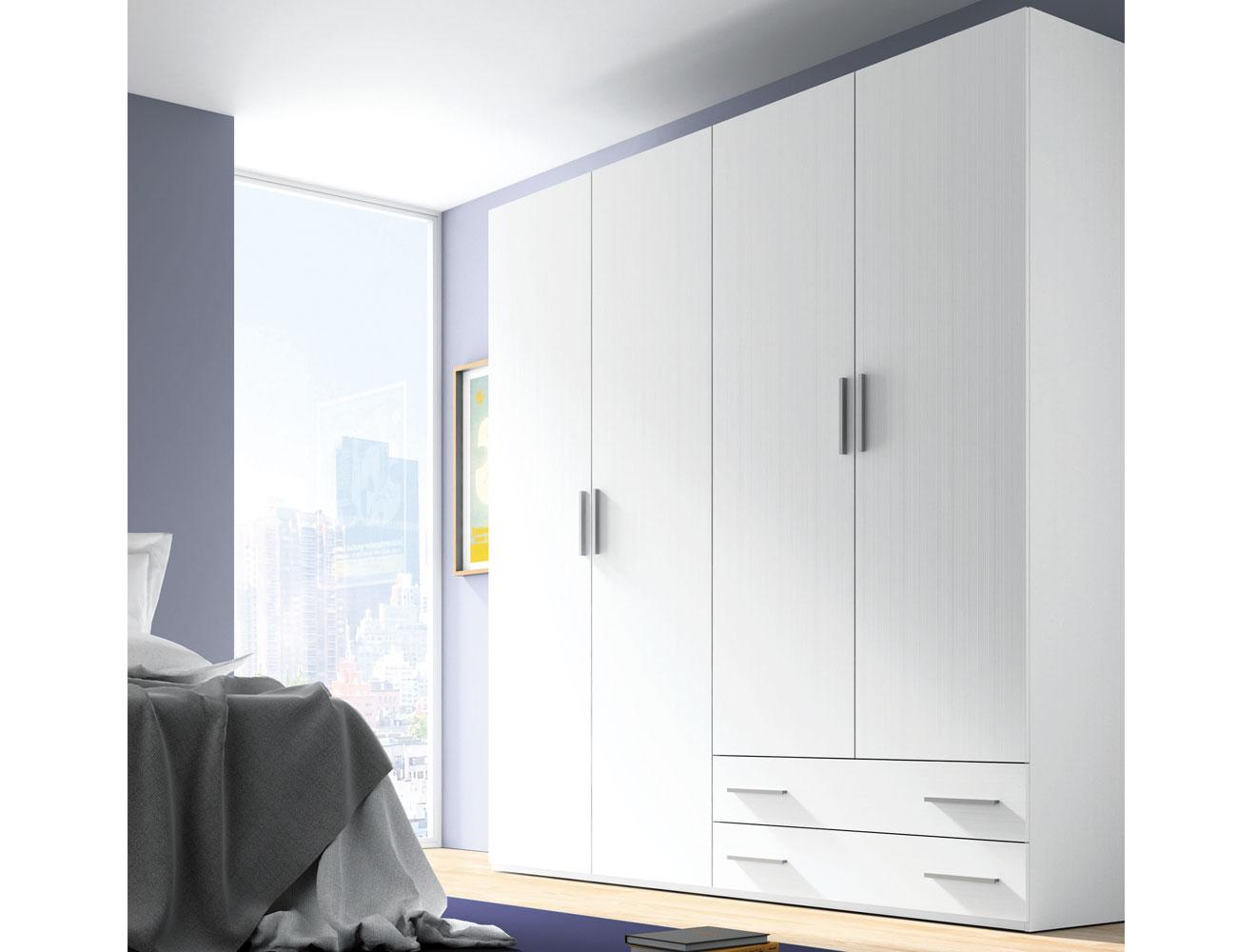 Armario 4 puertas abatibles en color blanco 5637 - Armarios puertas abatibles ...