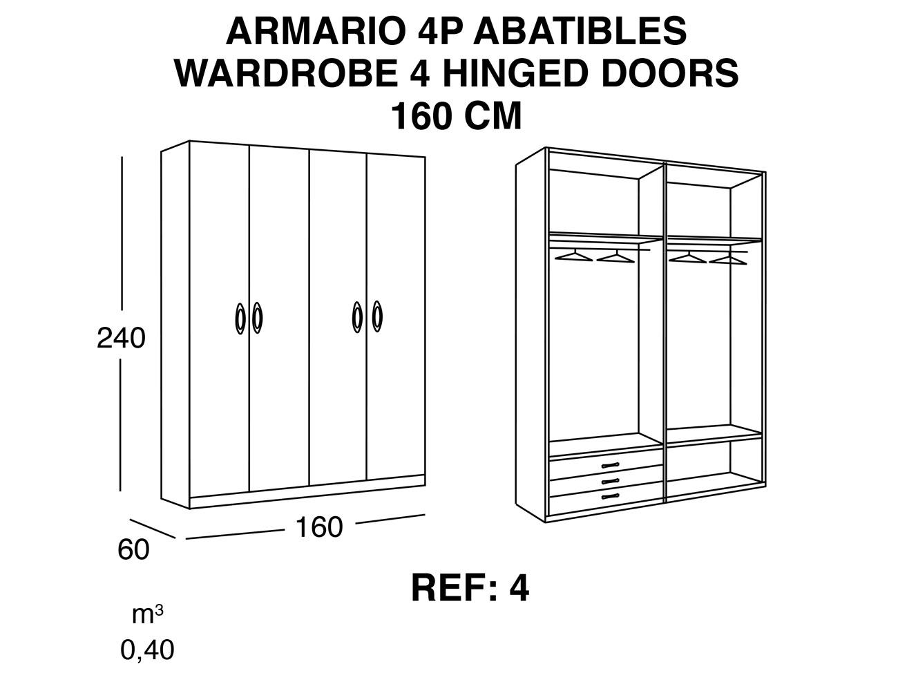 Armario 4p abatibles 160