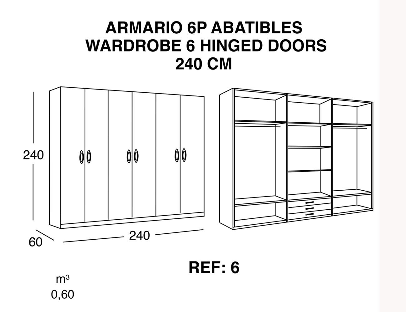 Armario de 3 puertas correderas de 240 cm 21380 - Puertas correderas o abatibles ...