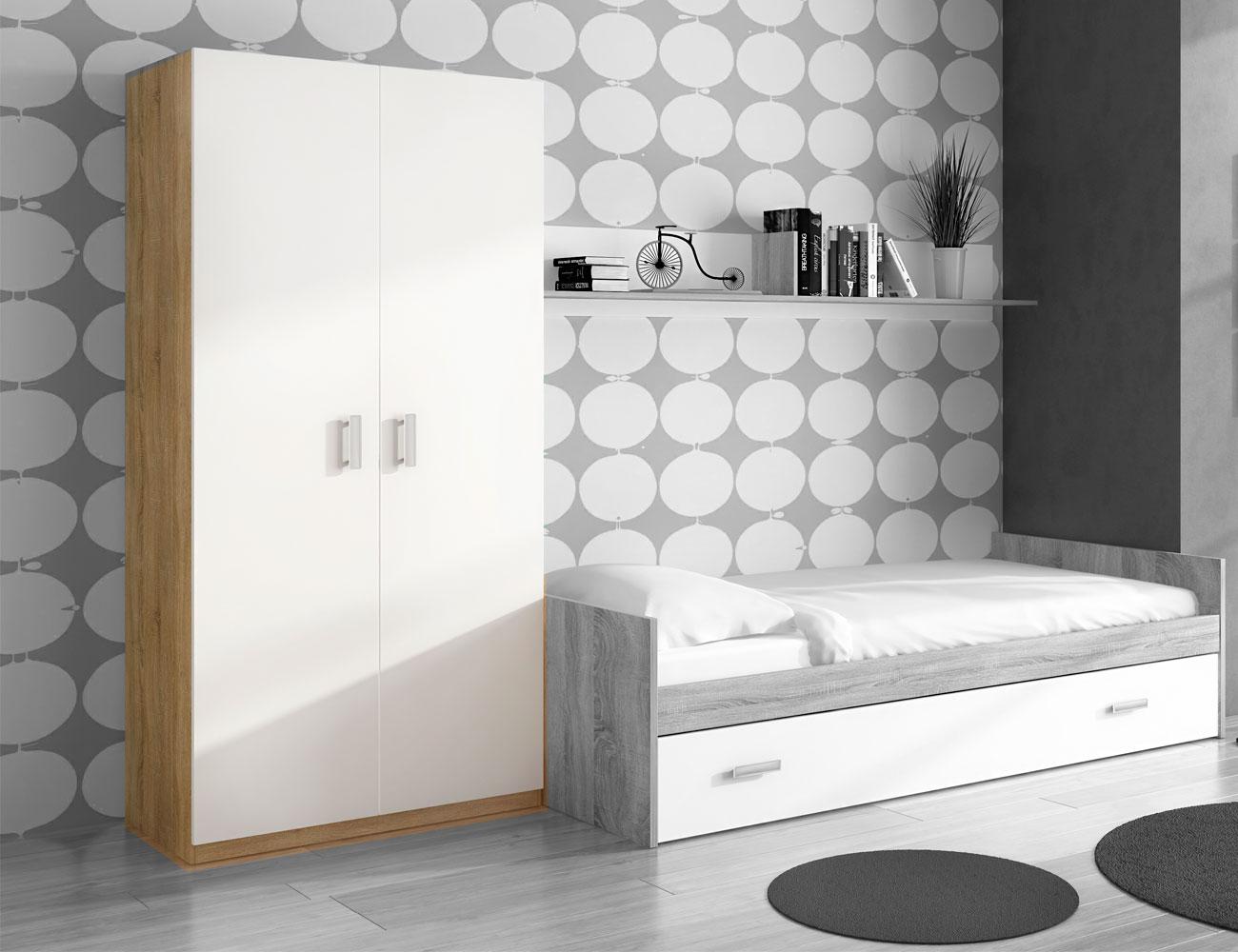 Dormitorio juvenil con cama nido y armario en cambrian con for Armario juvenil blanco