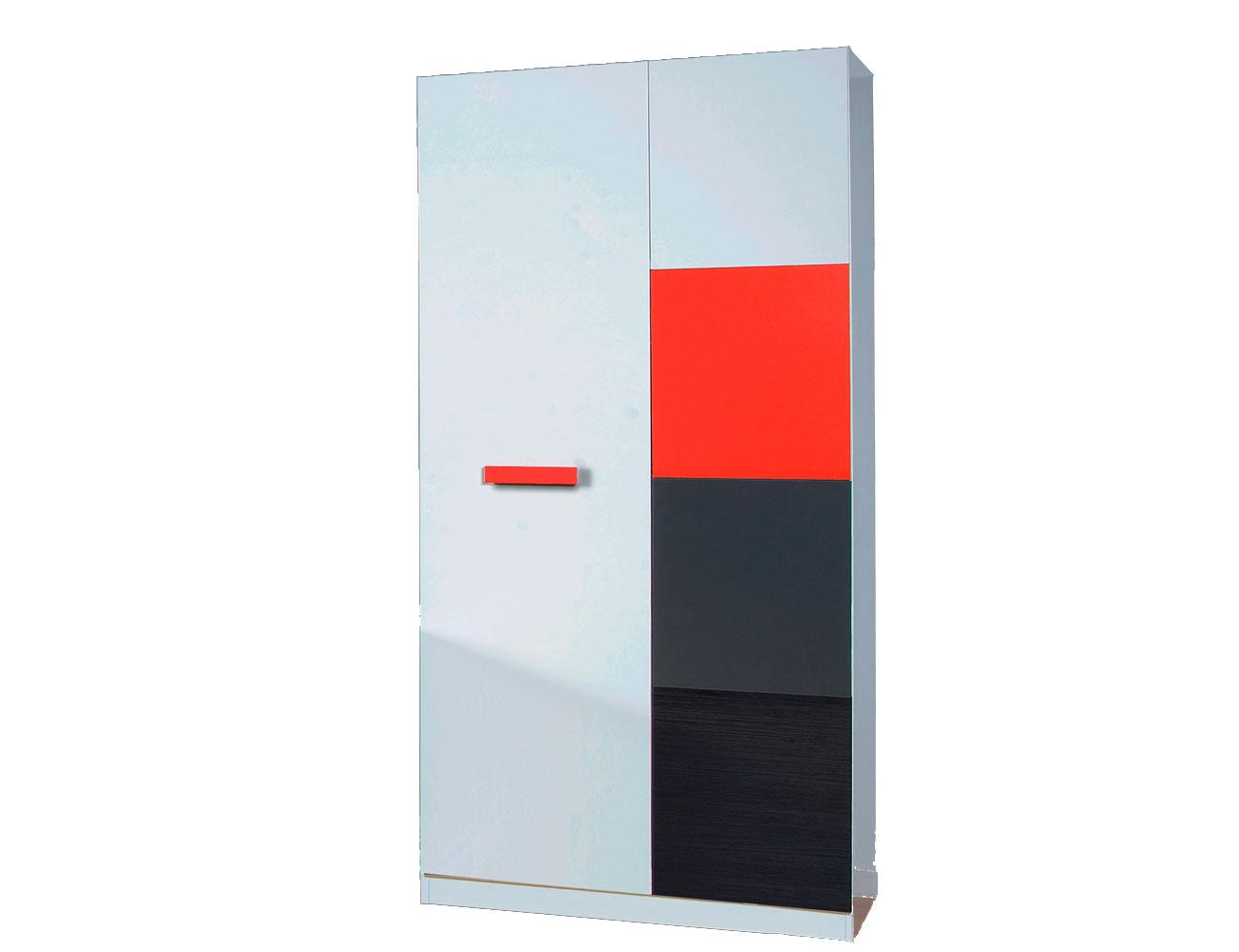 Armario juvenil 2 puertas rojo blanco