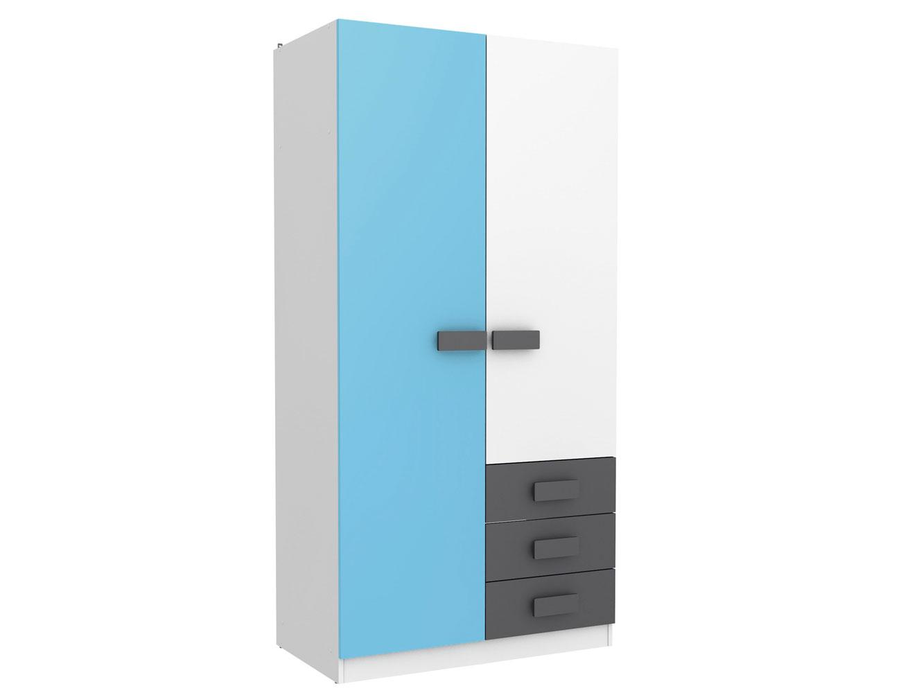 Armario juvenil puertas cajones 434 azul1