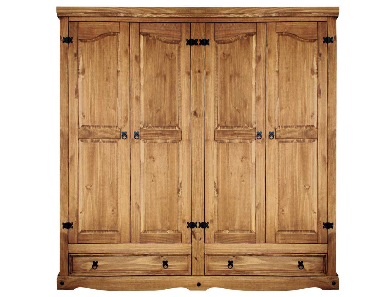 Armario madera rustico 4 puertas 2 cajones 195 cm