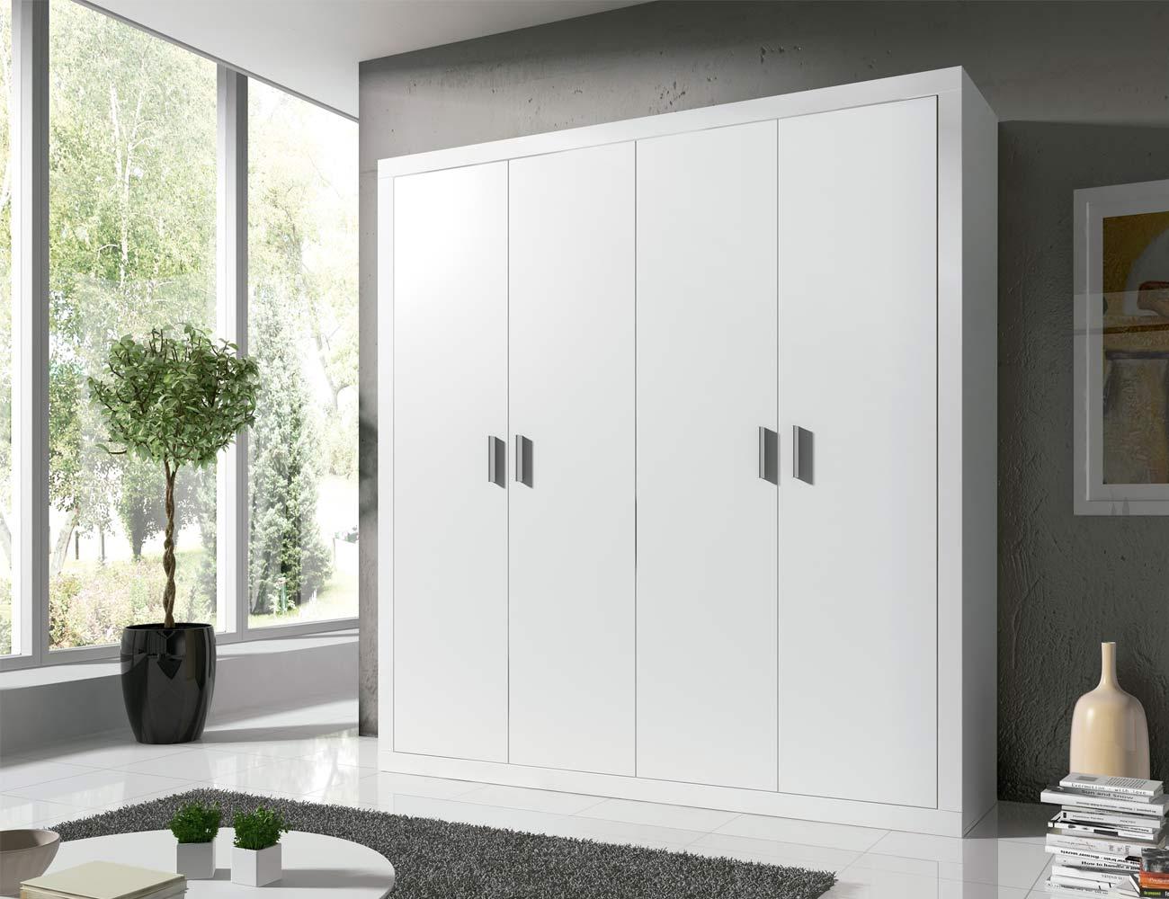 Armario moderno de 4 puertas abatibles en color blanco for Armarios puertas abatibles