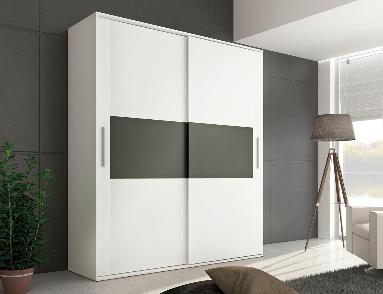 Armario Ropa Blanca ~ Armario 2 puertas correderas en blanco con grafito (21531) Factory del Mueble Utrera