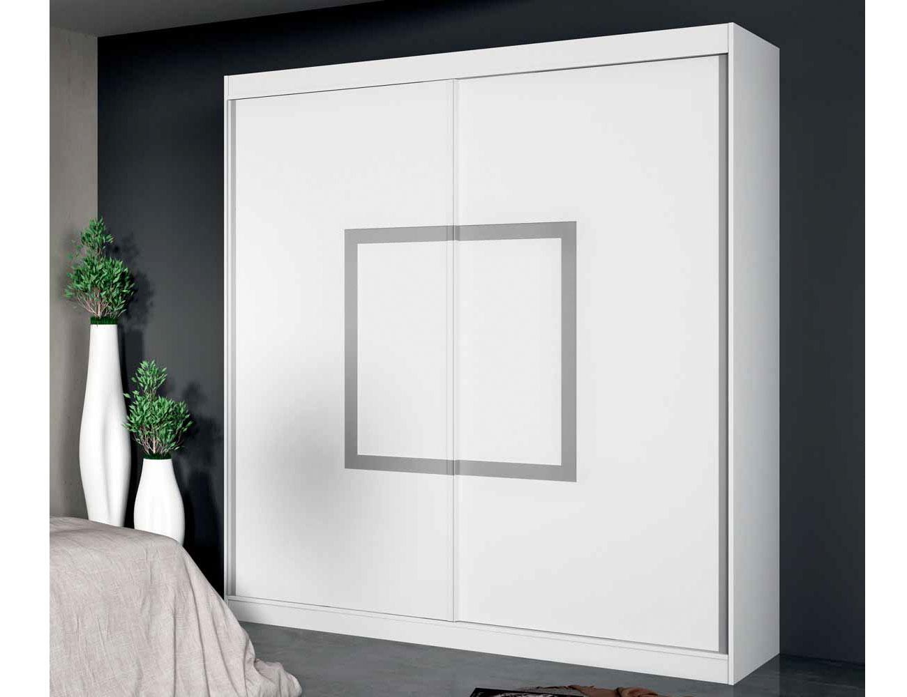 Armario 2 puertas correderas en madera color blanco con - Armario blanco puertas correderas ...