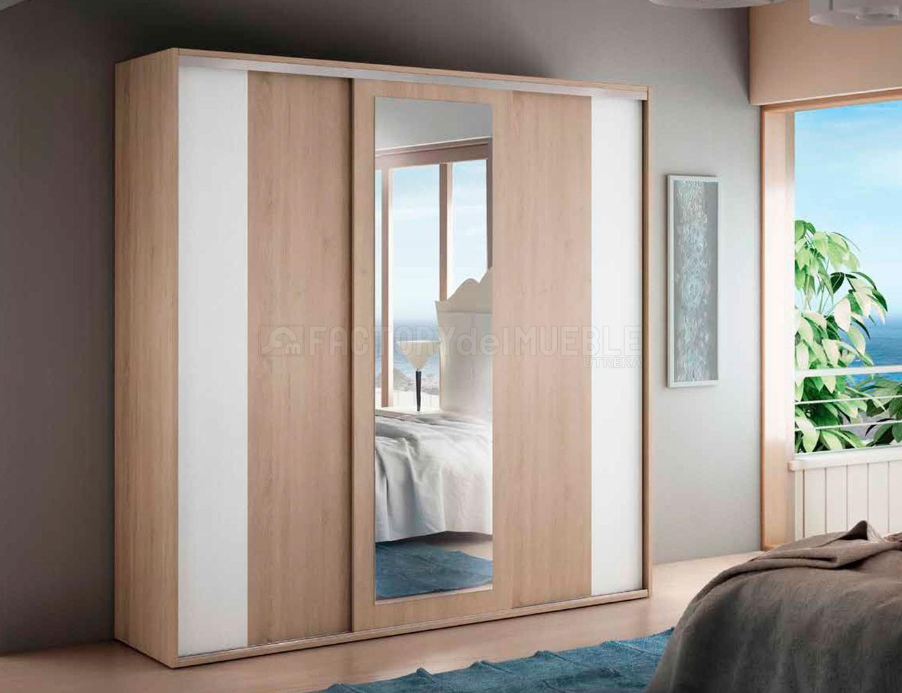 Armario tres puertas correderas de 235 cm ancho y luna - Armarios tres puertas ...