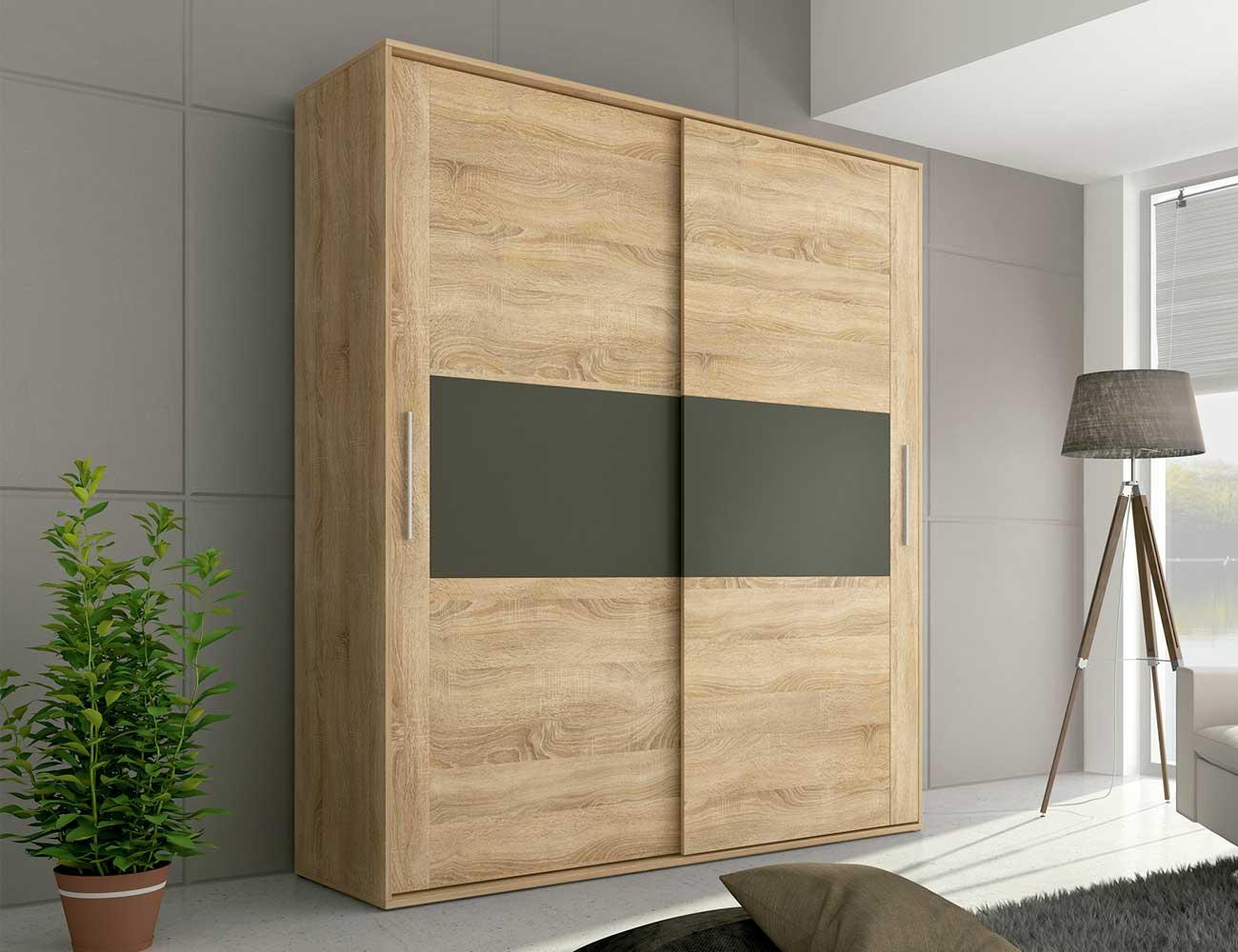 Armario 2 puertas correderas en cambrian con grafito 21534 factory del mueble utrera - Kit puertas correderas armarios ...