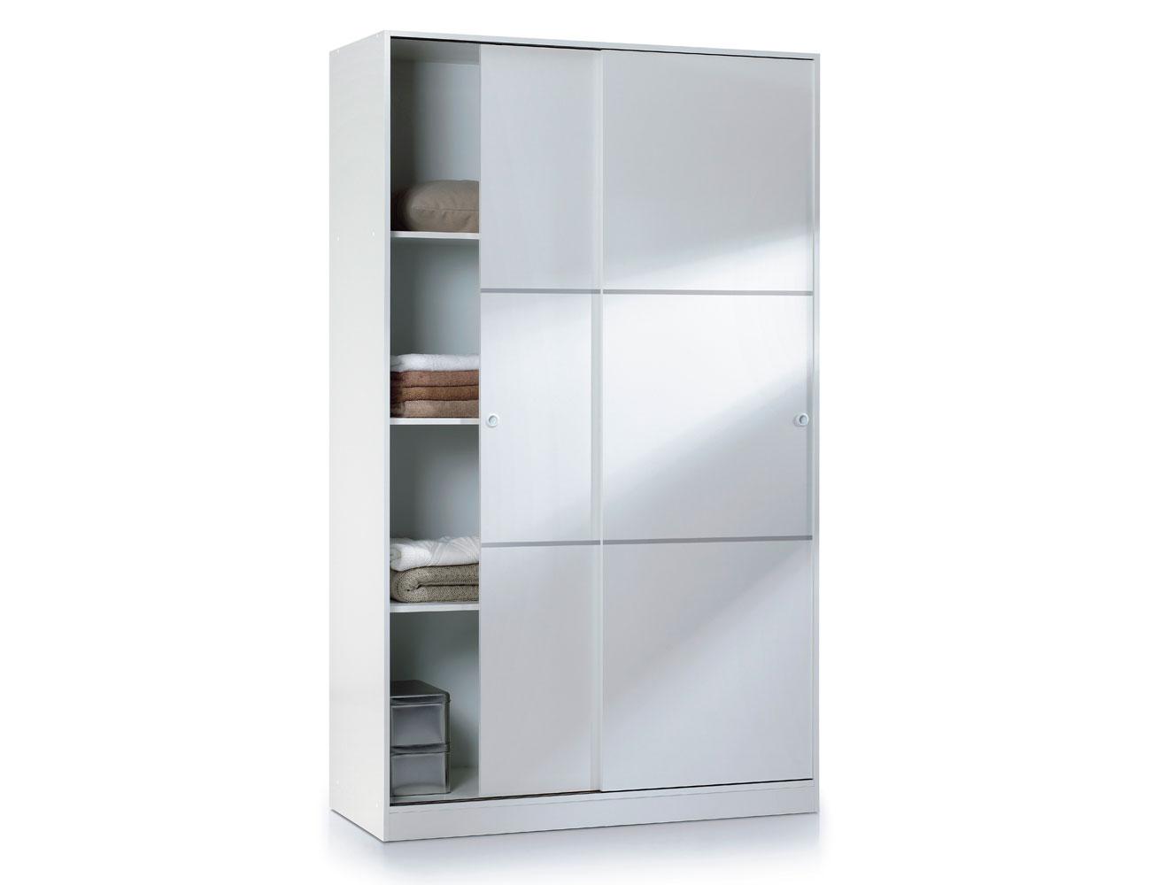 Armario puertas correderas con estantes interiores blanco