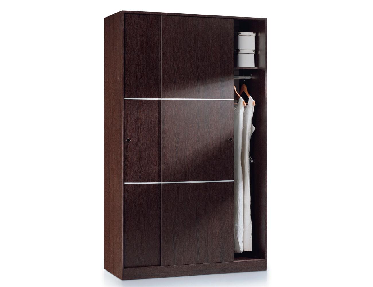 Armario puertas correderas con estantes interiores wengue