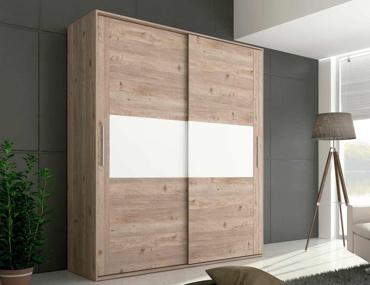 Armario 2 puertas correderas en nelson con blanco brillo 21539 factory del mueble utrera - Armario blanco puertas correderas ...