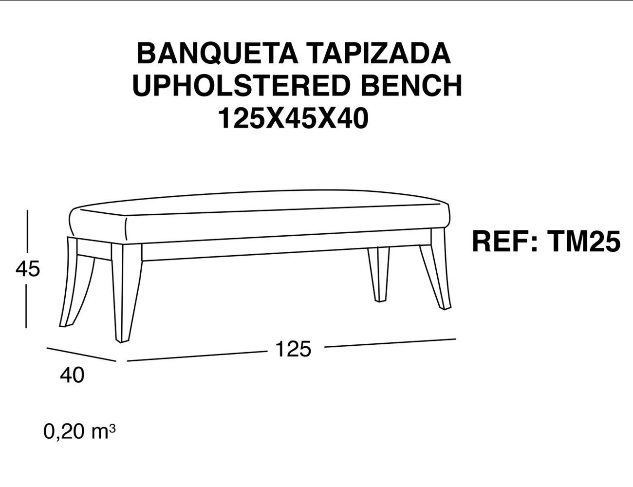 Banqueta tapizada 125 45 40