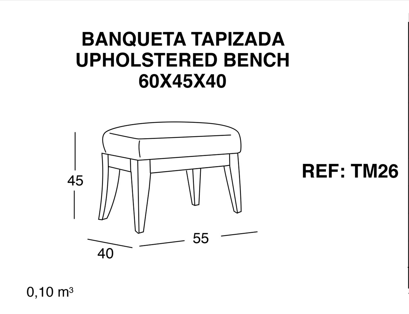 Banqueta tapizada 60 45 402