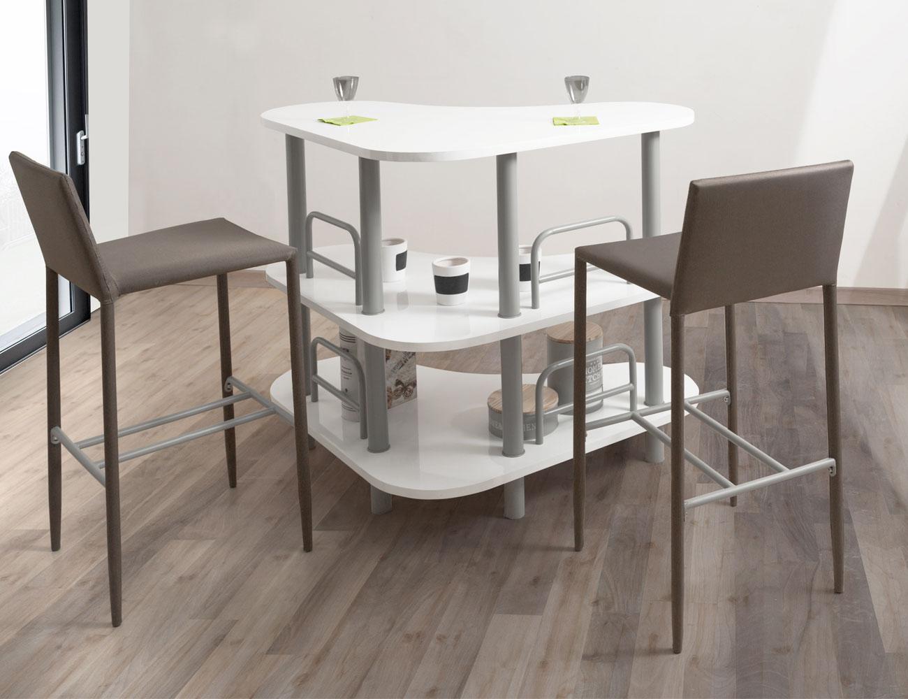 Mueble barra bar de cocina en blanco brillo (3540) | Factory del ...