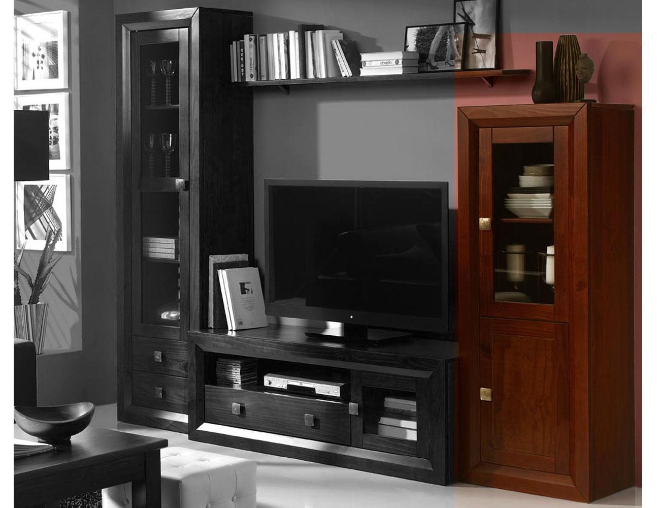 Armario de dormitorio de matrimonio color nogal en madera for Factory del mueble azuaga