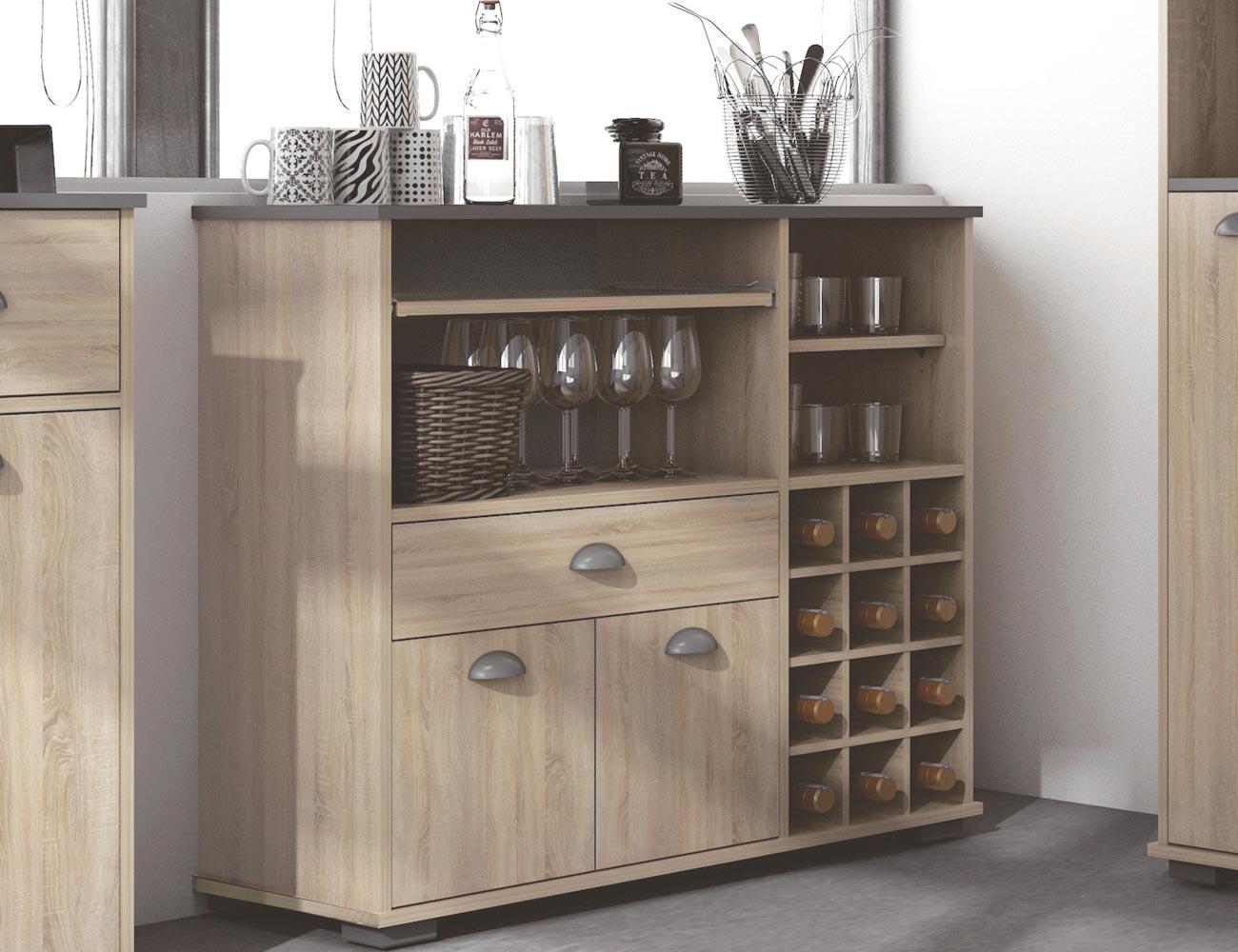 Mueble buffet botellero de cocina con dos puertas y un for Mueble botellero ikea