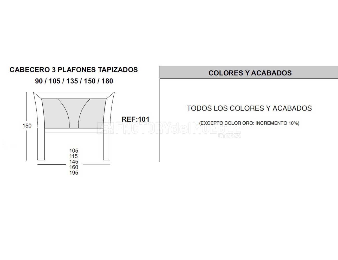 Cabecero 3 plafones tapizado ref  1011