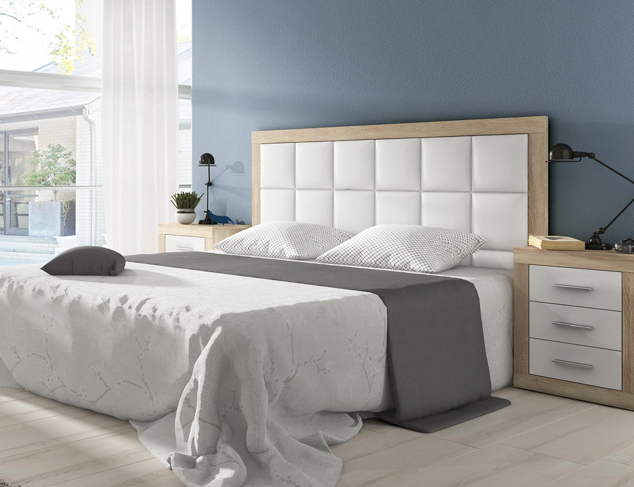 Dormitorio de matrimonio moderno con cabecero en polipiel en ...