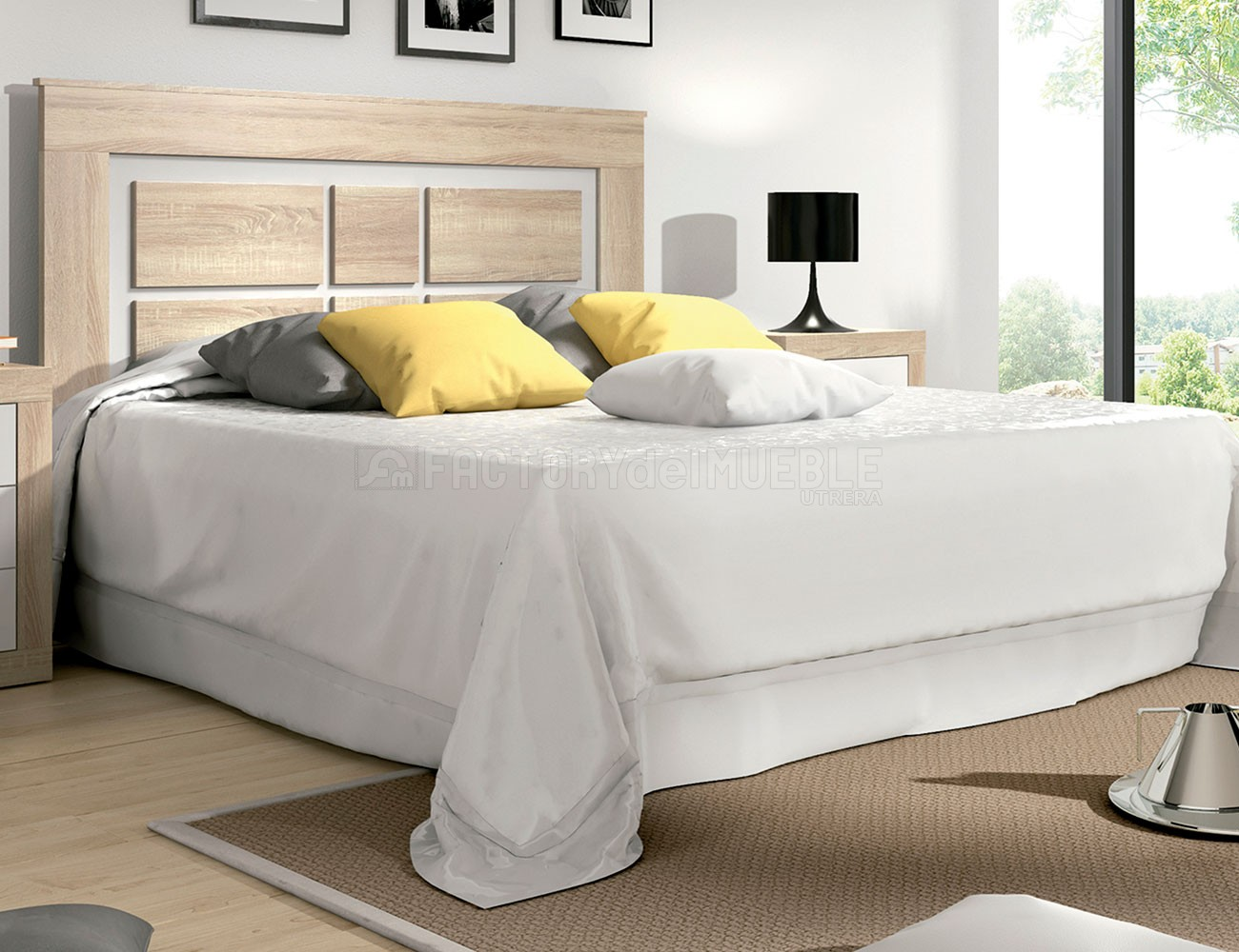Cabecero dormitorio matrimonio moderno cambrian blanco