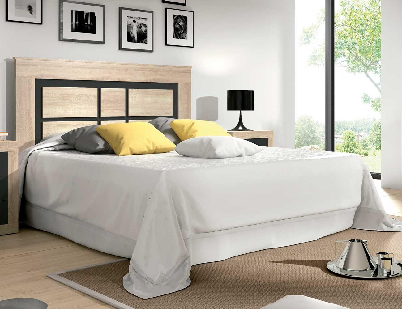 Cabecero matrimonio estilo moderno con patas 160 cm cambrian grafito 2116 factory del mueble - Cabeceros con estilo ...