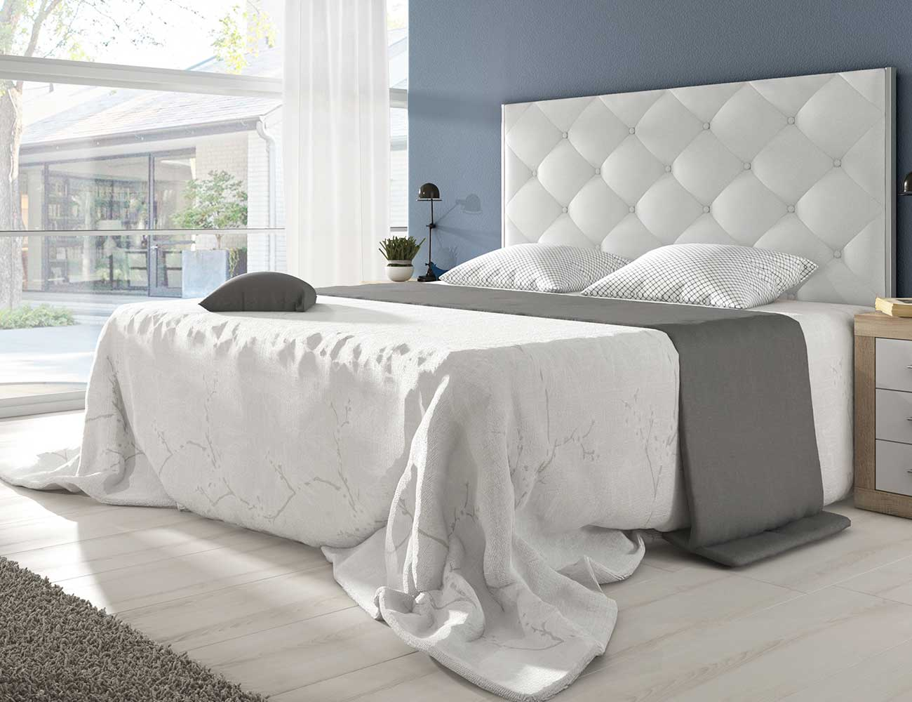 Cabecero dormitorio matrimonio moderno tapizado pu tolosa blanco