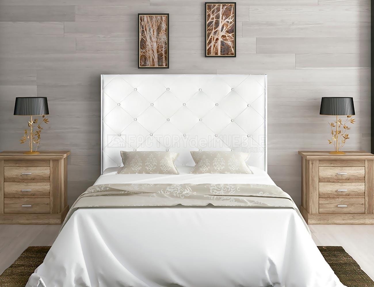 Cabecero tapizado polipiel blanco