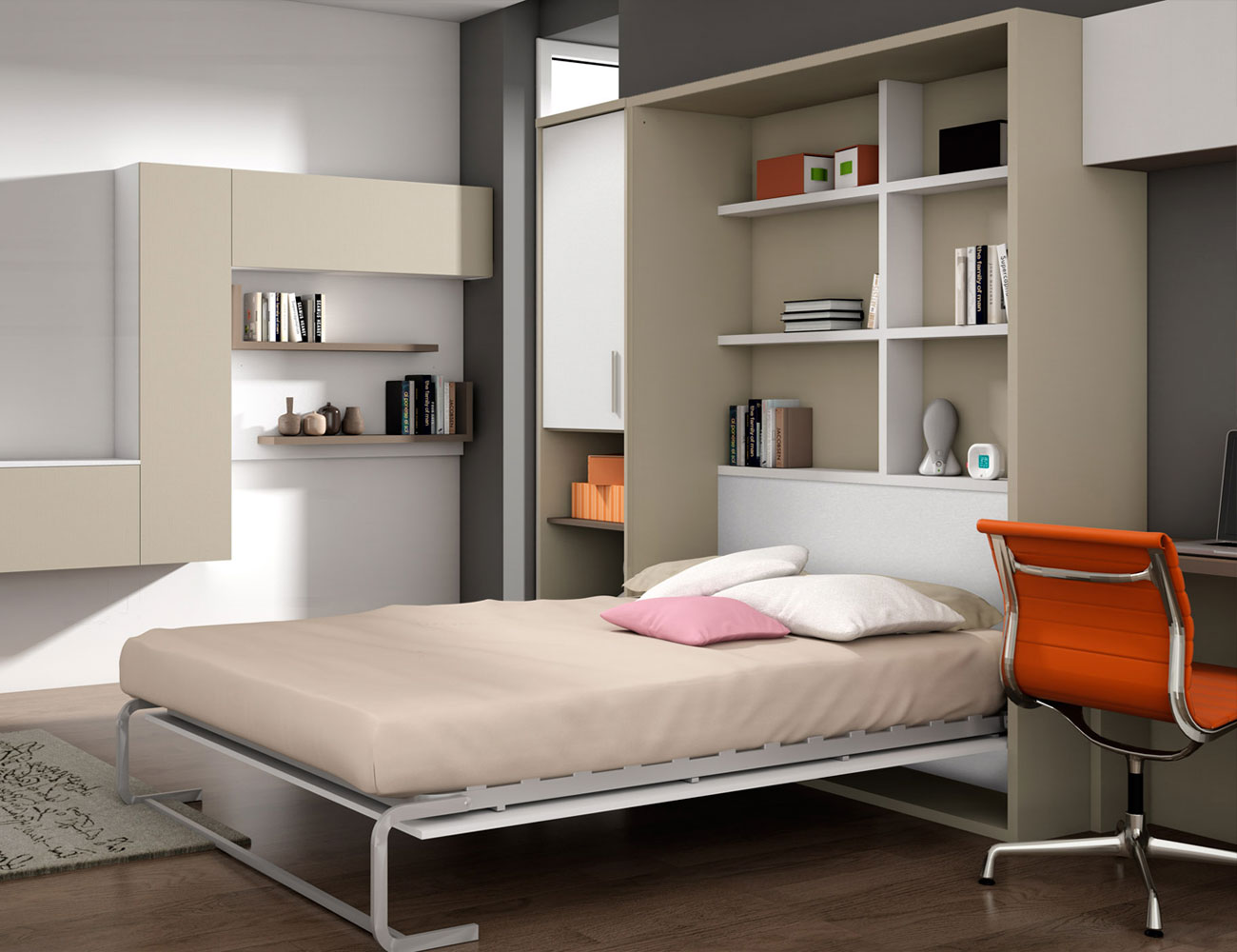 Cama abatible vertical matrimonio 135 190 estantes