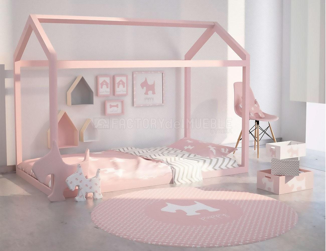 Cama casa juvenil en madera maciza color rosa (23729) | Factory del ...