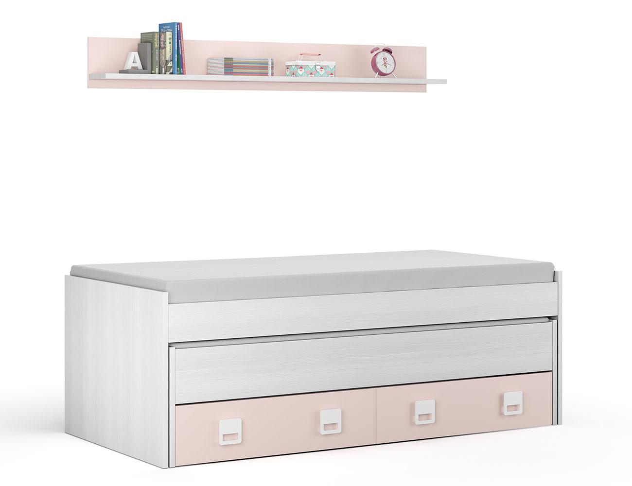 Cama nido blanco rosa con estantes