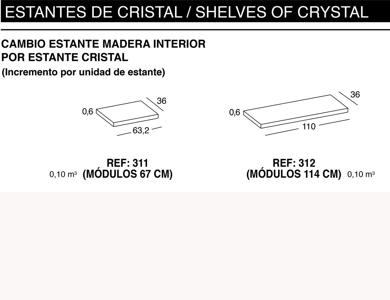 Cambio estante madera interior estante cristal