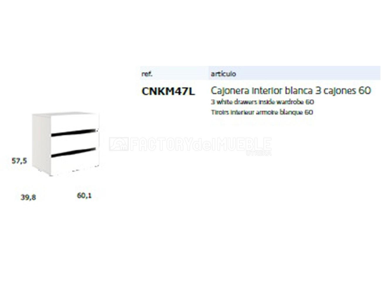 Cnkm47l cajonera interior blanca 3 cajones60