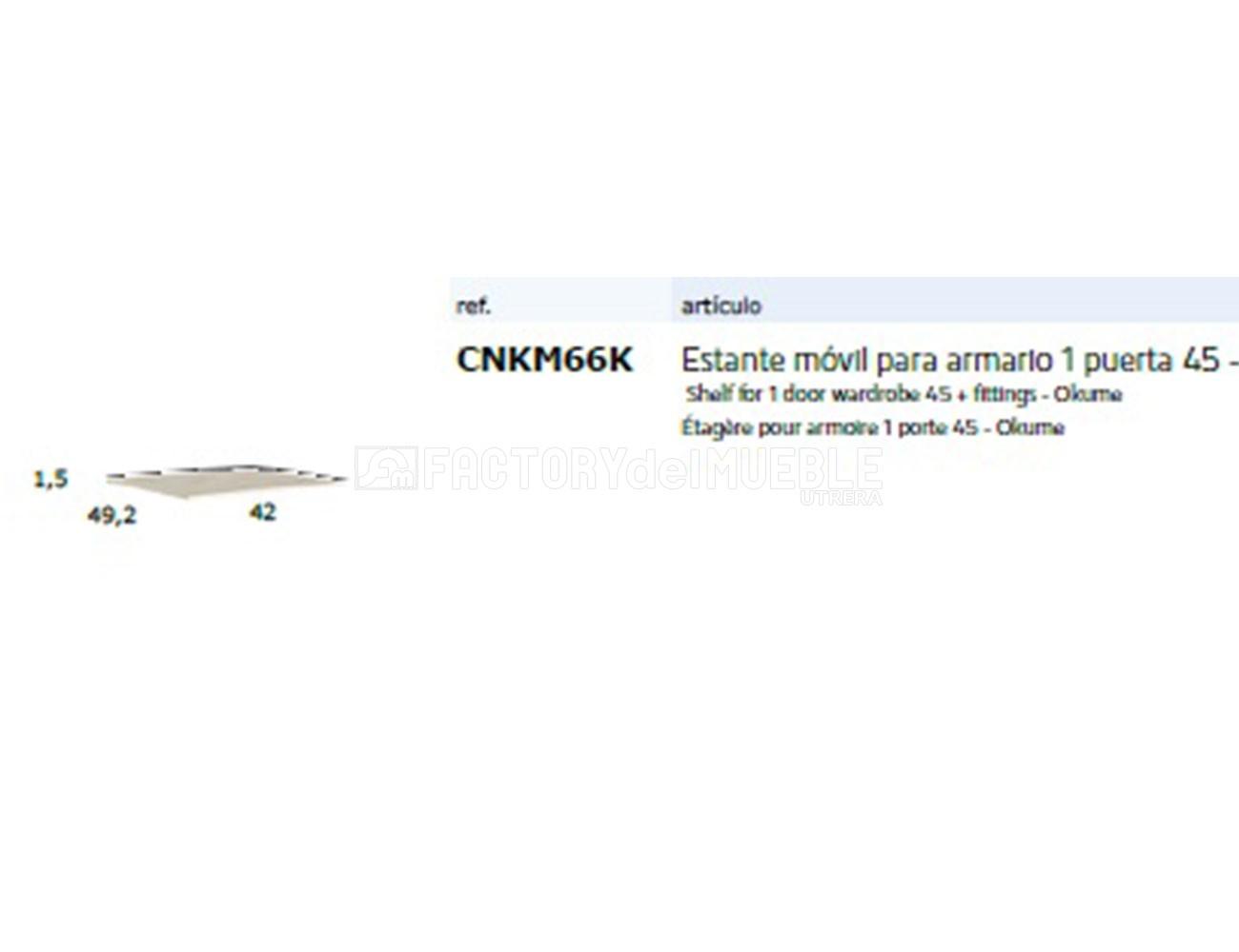 Cnkm66k estante movil para armario 1p 45