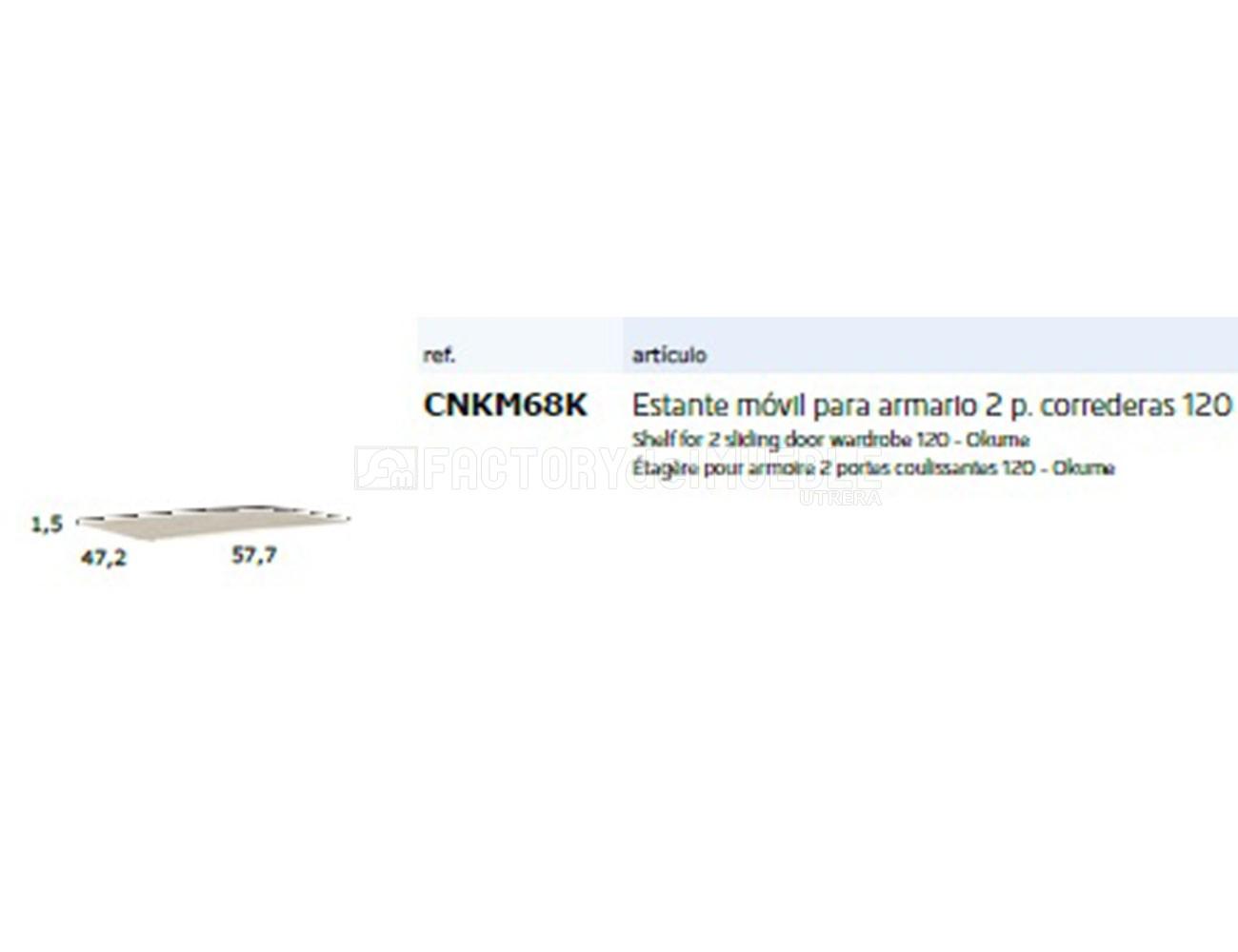 Cnkm68k estante movil para armario 2p correderas 120