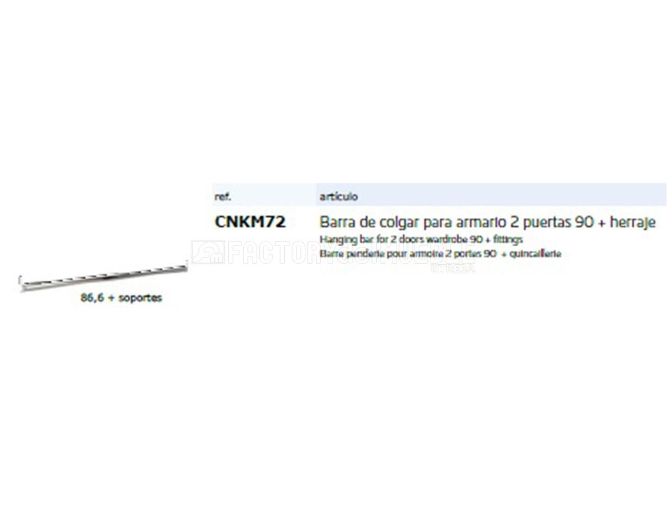 Cnkm72 barra colgar para armario 2p 90+herraje