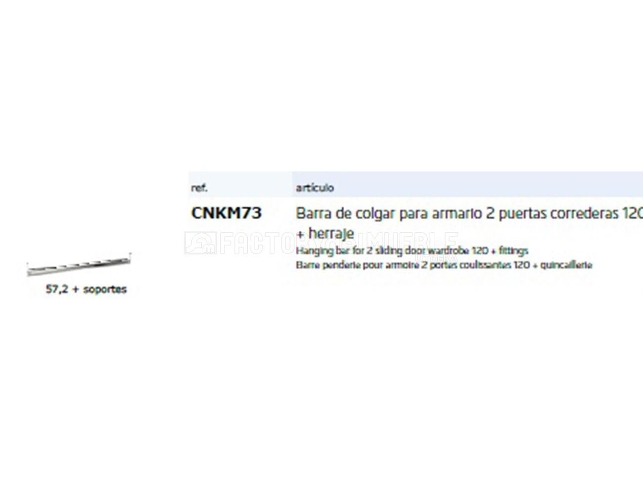 Cnkm73 barra colgar para armario2p correderas 120