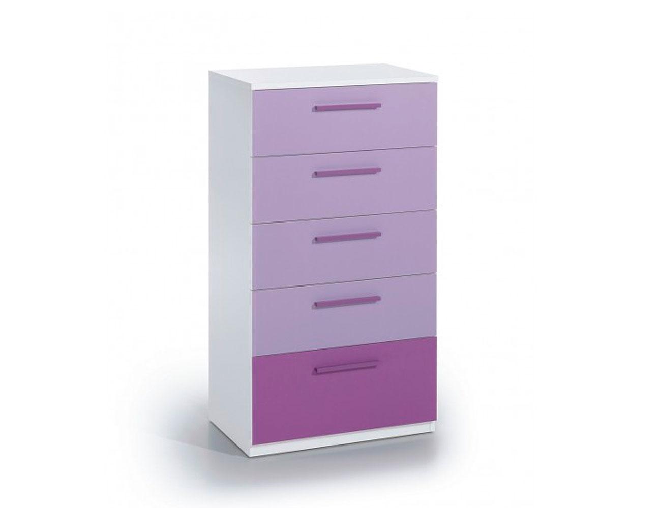 Comoda 5 cajones blanco lila