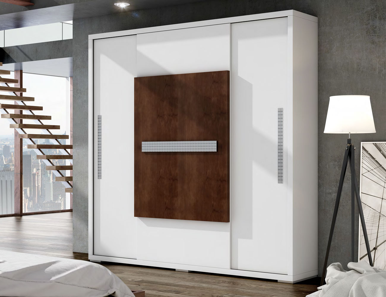 Armario puertas correderas en madera color blanco con cubo nogal ...