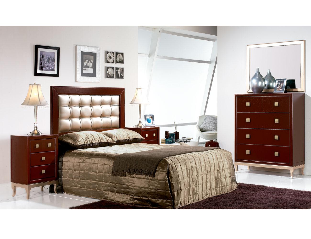 Composicion 10 dormitorio matrimonio comoda cabecero tapizado