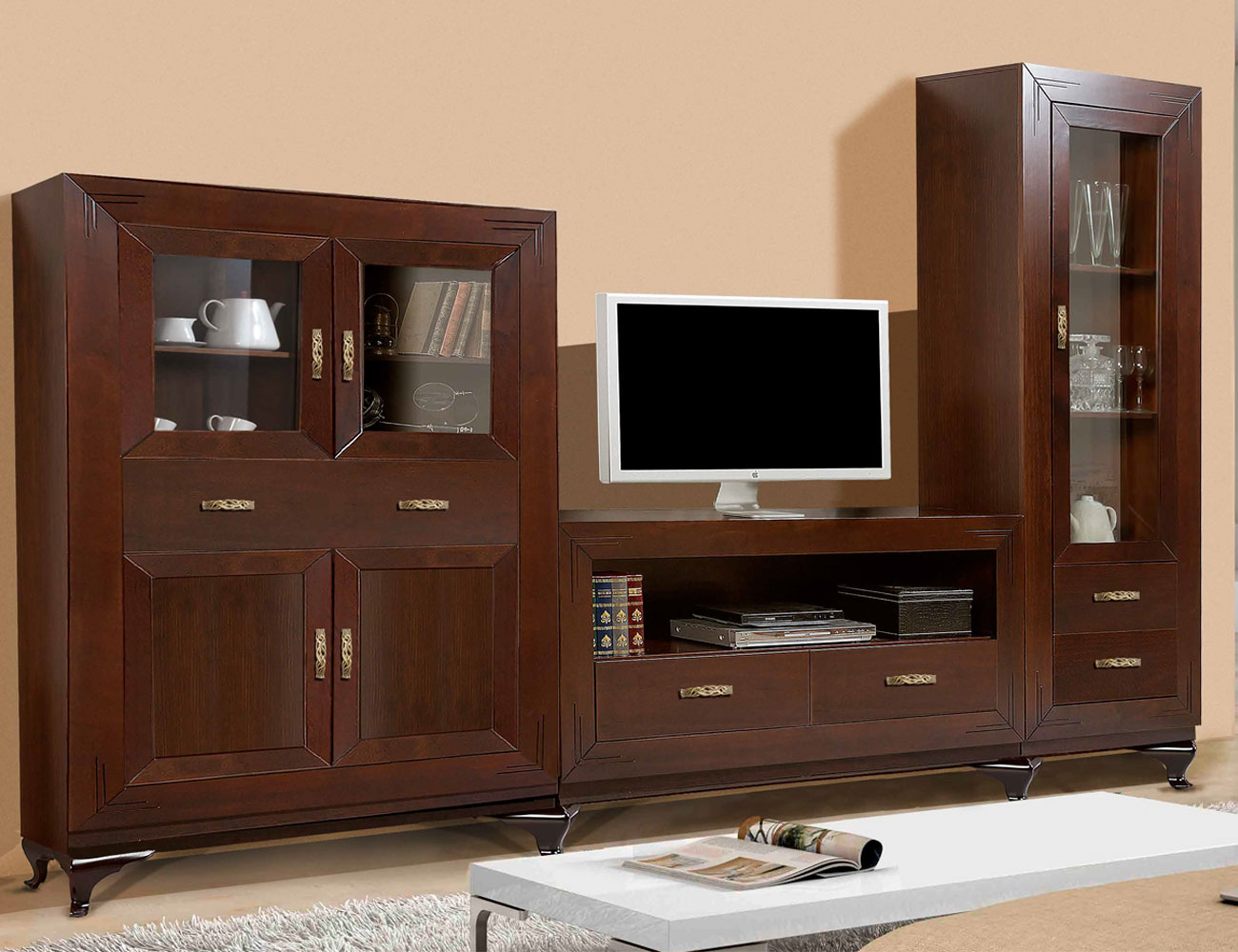Composicion 12 mueble salon comedor madera pino nogal