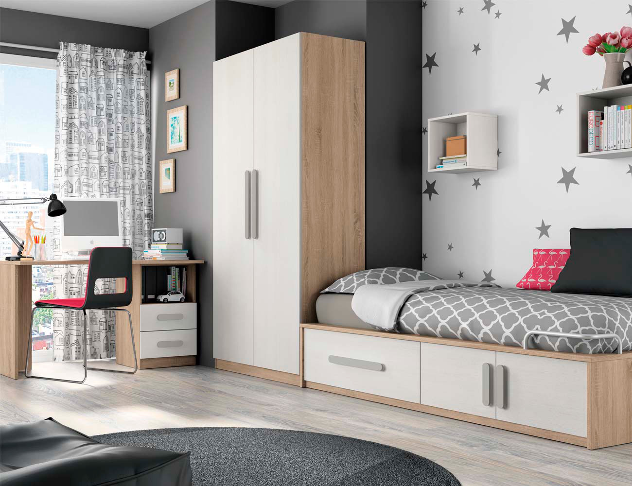 Composicion 301 dormitorio juvenil cambrian blanco
