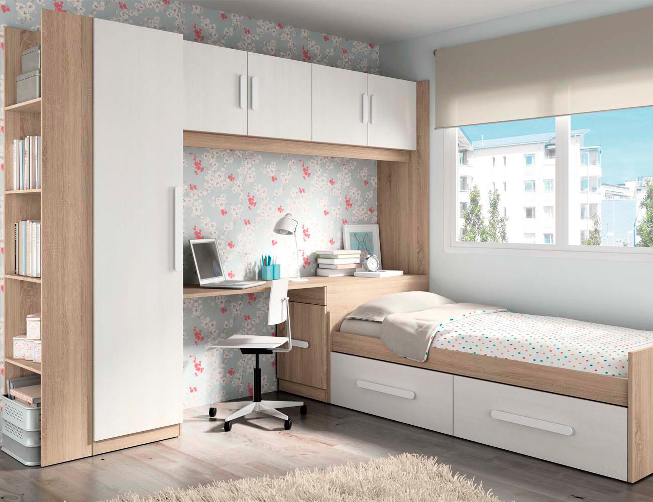 Composicion 314 dormitorio juvenil cambrian blanco